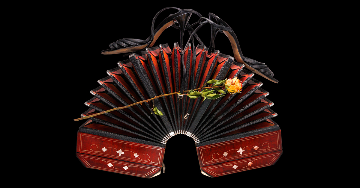 Wide open bandoneon with tango shoes and a dry rose, isolated on black background
